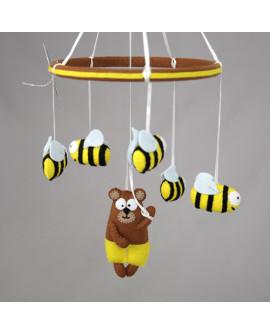 """Мобиль из фетра """"Мишки и пчелы"""""""